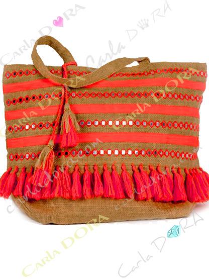 sac cabas corail fluo sur toile jute brute, sac cabas vacances pompons flashy