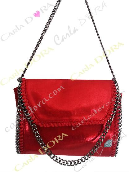 sac a main rouge metalise pour femme tendance, pochette de soiree rouge nacre metalise
