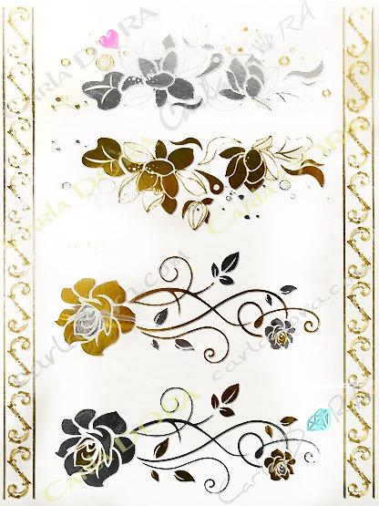 tattoo feuille or bijou de peau fleur feuille d