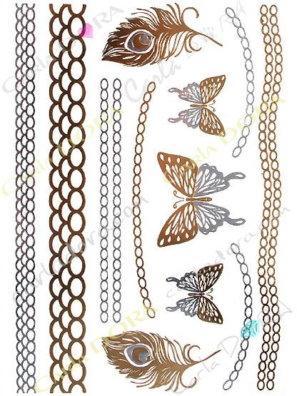 tattoo or argent papillon bijoux de peau papillon, bijoux ephemeres tatoo papillon bijou tatouage papillon bijou