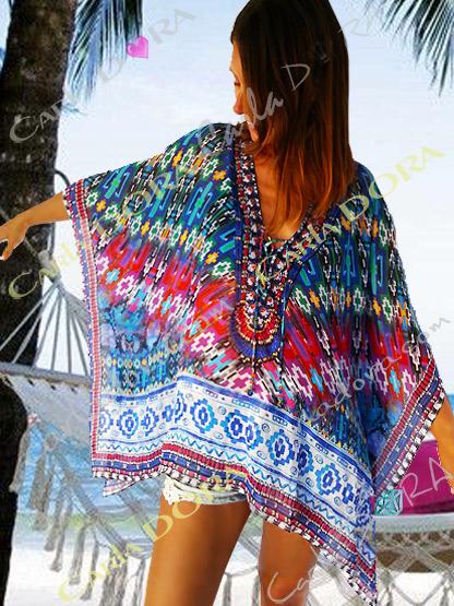 caftan court femme col v amerindien rouge et bleu blanc et vert emeraude, caftan femme court tendance col v
