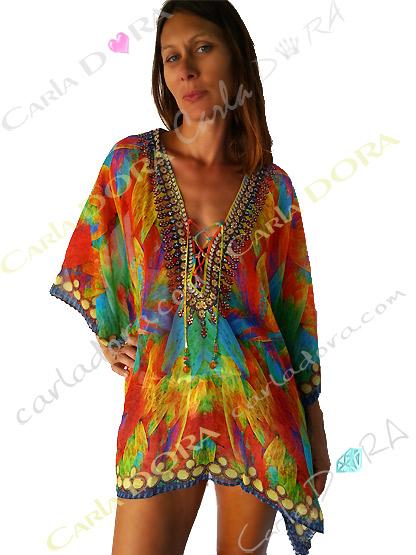 caftan court femme couleurs du bresil, caftan femme bresilien multicolores