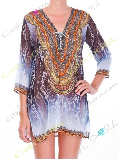 tunique femme droite voile motif col v, top femme col v tunique plage a la mode