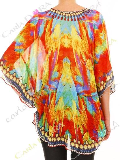 tunique femme multicolore brazil bas arrondi, tunique femme fluide aux couleurs du bresil