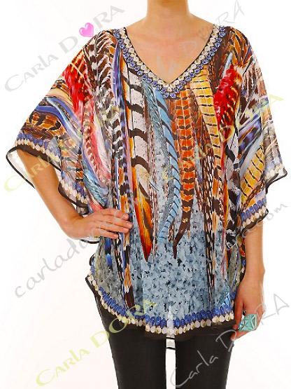 tunique femme tissu fluide motif amerindien plumes multicolores, tunique femme fluide bas arrondi