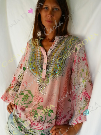 tunique femme romantique rose a fleurs, tunique femme manche longue ou courte