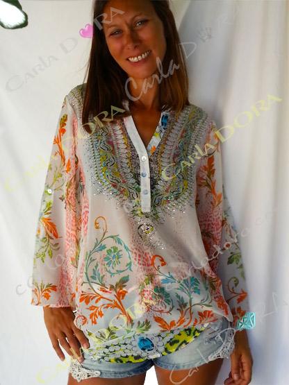 tunique femme fluide blanche motif fleuri, top femme tunique voile fluide a la mode
