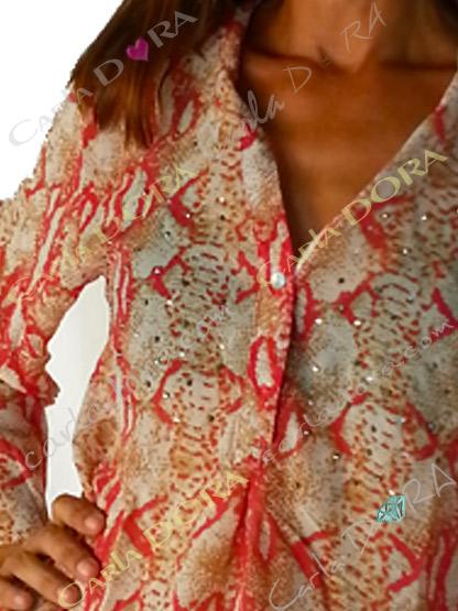 tunique femme fluide rouge et beige motif python, top femme tunique voile fluide a la mode