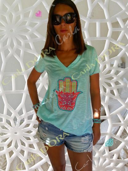 t-shirt femme turquoise main de fatma, top t-shirt motif main de fatma mode femme tendance