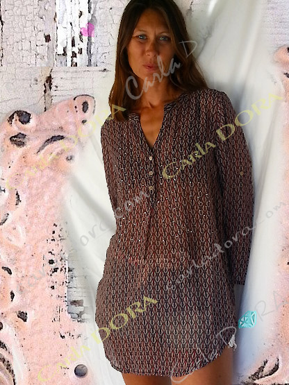 tunique femme fluide motif equitation, top femme tunique voile fluide imprime cheval