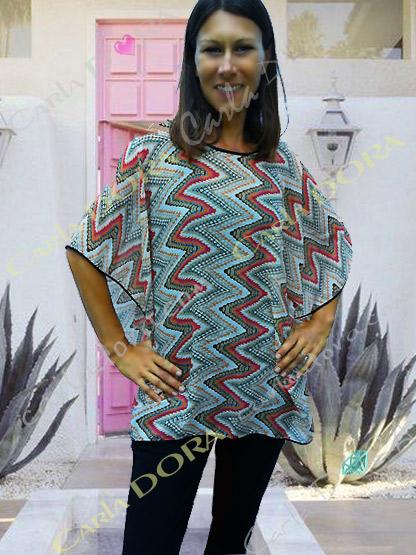 caftan femme imprime graphique multicolore