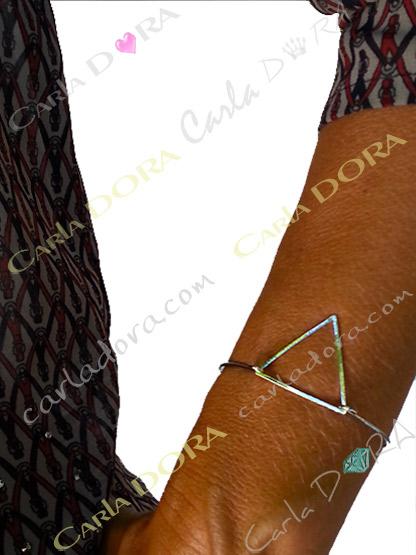 bracelet fin rigide triangle argent ajoure, bracelet fantaisie femme argent