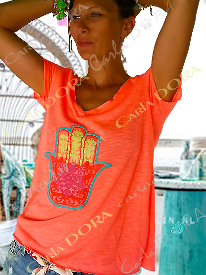 t-shirt femme corail fluo  main de fatma, top t-shirt motif main de fatma mode femme tendance fluo corail