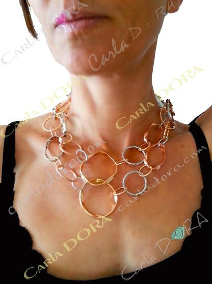 collier anneaux entrelaces cuivre argent et orscintillant, collier 2 en 1 sautoir ou ras de cou