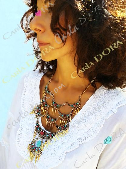 collier ethnique metal dore pampilles bleu rouge, bijou fantaisie femme