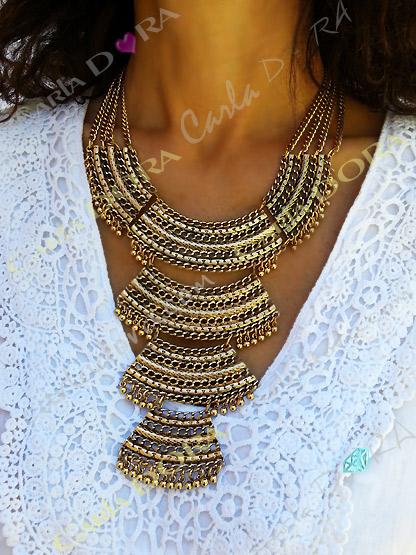 collier plastron metal doremulti rangs, bijou fantaisie femme indien