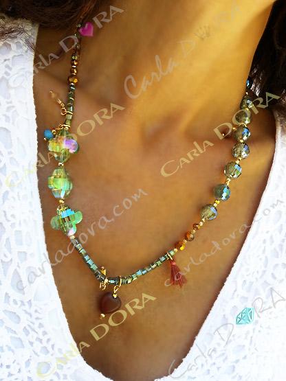 collier cristal 3 en 1 ou bracelet ou  head band, collier elastique 3 en 1 ras de cou