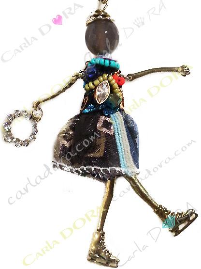 poupee patineuse sautoir charms fashion, collier fantaisie femme