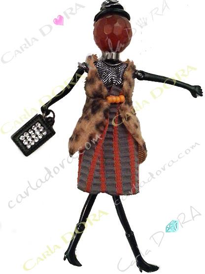 collier sautoir poupee veste panthere, collier fantaisie femme