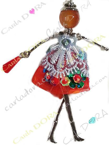 collier poupee sautoir rouge corail dentelle paillettes, collier fantaisie femme