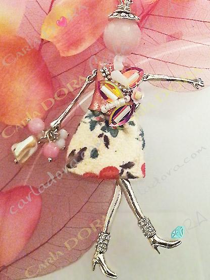 collier sautoir poupee romantique robe fleurie, collier fantaisie femme