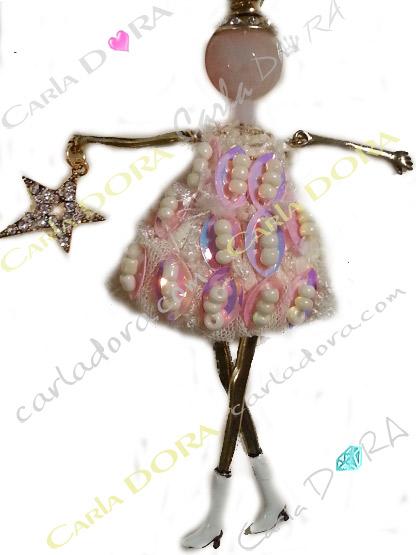 poupette collier sautoir robe paillettes cocktail paillettes roses irisees, collier poupette fantaisie femme