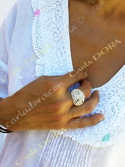 bague blanche cristal diamantissime cristal, bague fantaisie femme