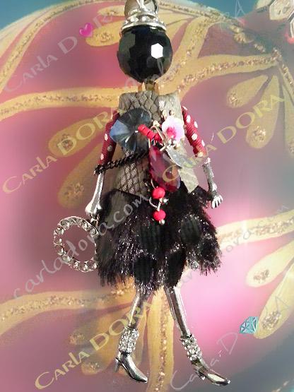 collier sautoir poupee petites manches a pois charms fashion