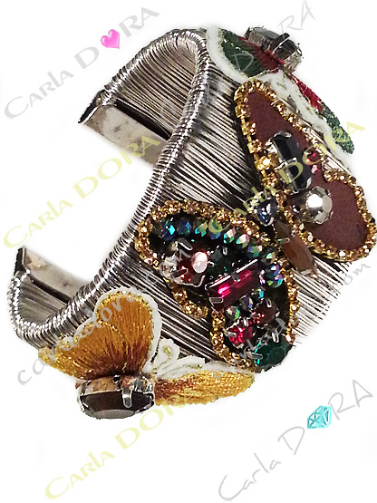 bracelet femme manchette metal papillons brodes