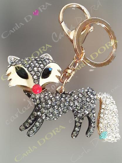 bijou de sac renard strass blancs articule, porte-clef renard strass articule