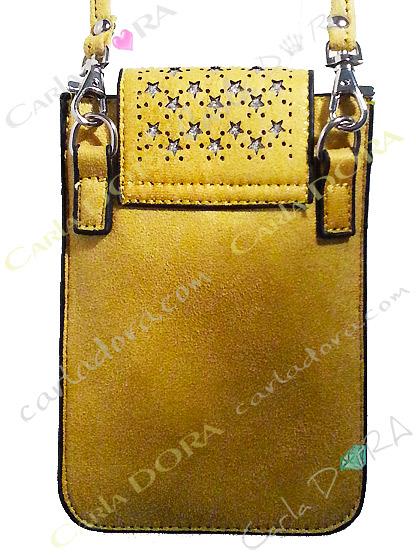 pochette telephone smartphone grand format jaune irise et etoiles argents
