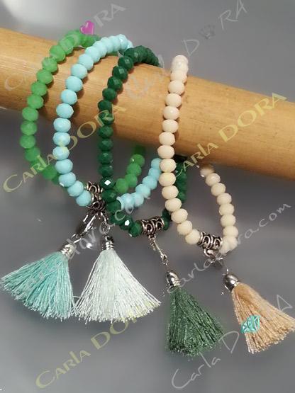 bracelet elastique perles cristal et pompon,bracelet fantaisie femme elastique  perles cristal a facettes