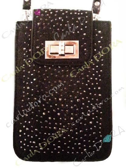 pochette telephone smartphone grand format noir irise et strass gris