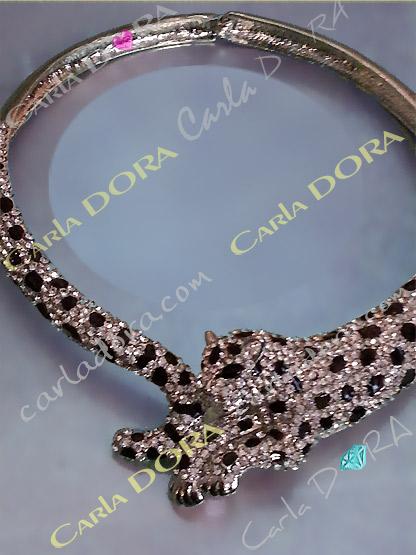 collier fantaisie ultra chic tete leopard argent et noir - bijou femme cristal elegant et chic tete panthere