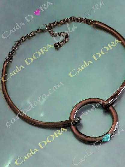 collier fantaisie metal gros anneau couleur gun, collier anneau central metal brillant lisse