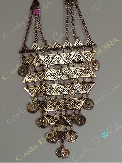 collier ethnique metal dore pampilles piecettes, bijou fantaisie femme