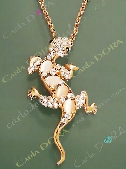 collier lezard metal or strass, collier fantaisie animaux lezard salamandre metal brillant strass blanc
