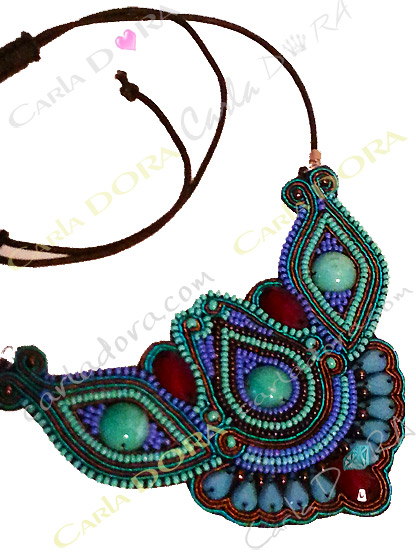 collier fantaisie bresilien bleu et chocolat, bijoux plastron collier fantaisie femme