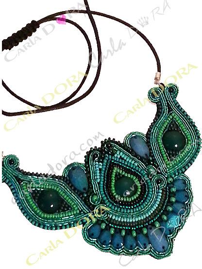 collier plastron fantaisie bresilien vert emeraude, bijou plastron collier fantaisie femme