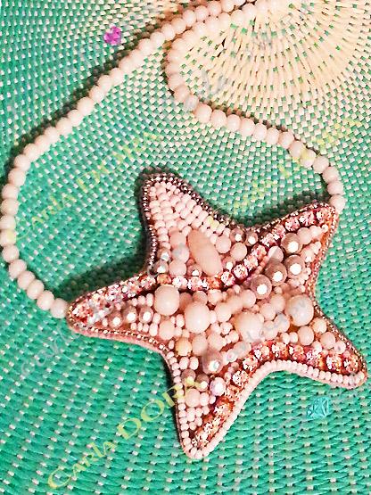 ras de cou etoile de mer blanche perles et strass, collier ras du cou etoile de mer blanche