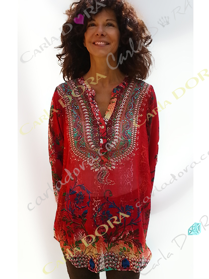 tunique rouge femme imprimee fleur manche courte, top femme rouge tunique manche courte