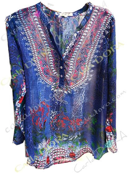 tunique femme voile motif fleuri bleu marine, top femme tunique a la mode