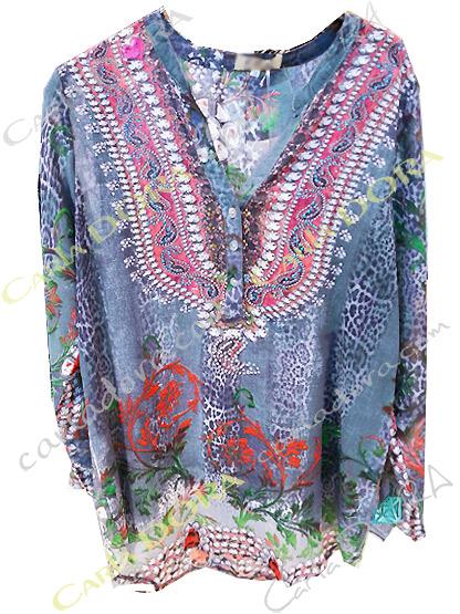 tunique fluide grise femme voile motif fleuri , top femme fluide gris tunique a la mode
