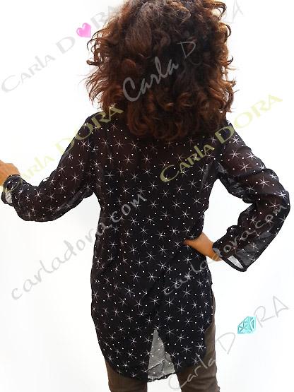 tunique femme fluide noire et blanche motif etoile, top femme tunique voile fluide a la mode