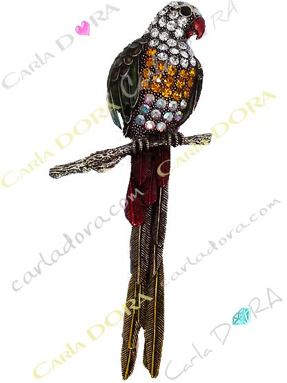 broche perroquet strass et cristal, broche articulee oiseau perroquet