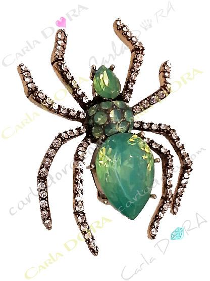 broche araignee cabochon vert lagon strass blancs