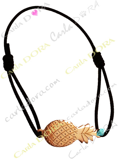 bracelet ananas cisele metal dore, bracelet elastique reglable ananas