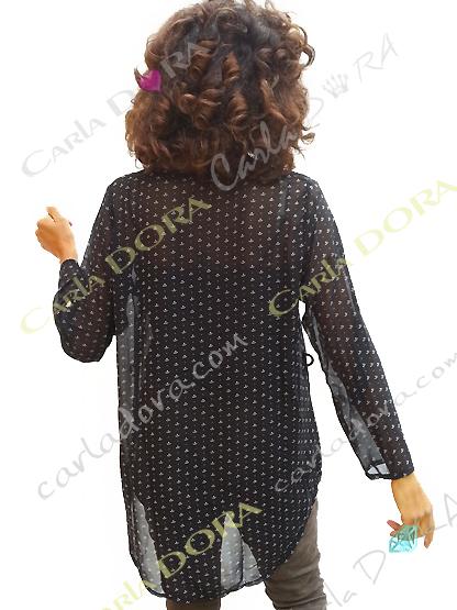 tunique femme noire et blanche motif ancre marine, top femme tunique voile fluide a la mode