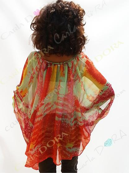 tunique femme voile transapent flamboyant, top femme tunique plage a la mode