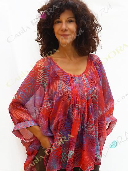 tunique femme voile transparent rouge et bleu, top femme tunique plage a la mode
